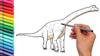 Drawing and Coloring Brachiosaur From Jurassic Parck - Dinosaurs Color Page For Children