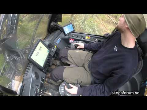Drive a tree harvester (forest machine) inside cabin