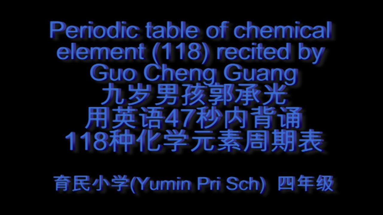 Periodic table of chemical elements 118 recited by guo for 118 periodic table
