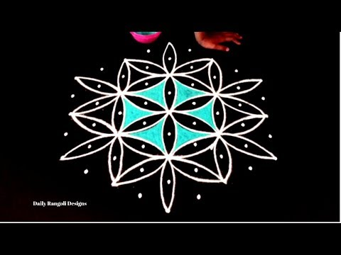 Simple Kolam Designs Easy Rangoli Muggulu Colour Kolam With 9X5 Dots Kolangal Rangoli Art Designs
