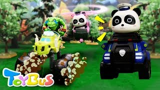 Bad Monster Car Grabs Candies from Baby Panda | Super Panda Rescue Team | Kids Toys | ToyBus
