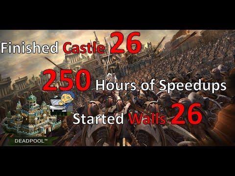CLASH OF KINGS 250 Hours Speedups: Castle-26 Upgraded & Walls-26 Started | 1080p