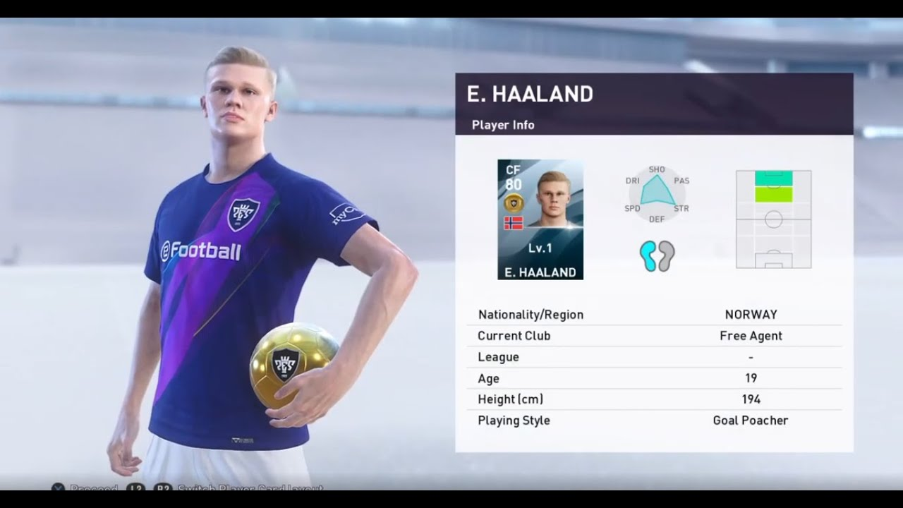 Erling Braut Haaland Efootball Pes 2020 Youtube