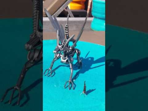 FLYING DRAGON HANDMADE FROM RECYCLED METAL and Mothra