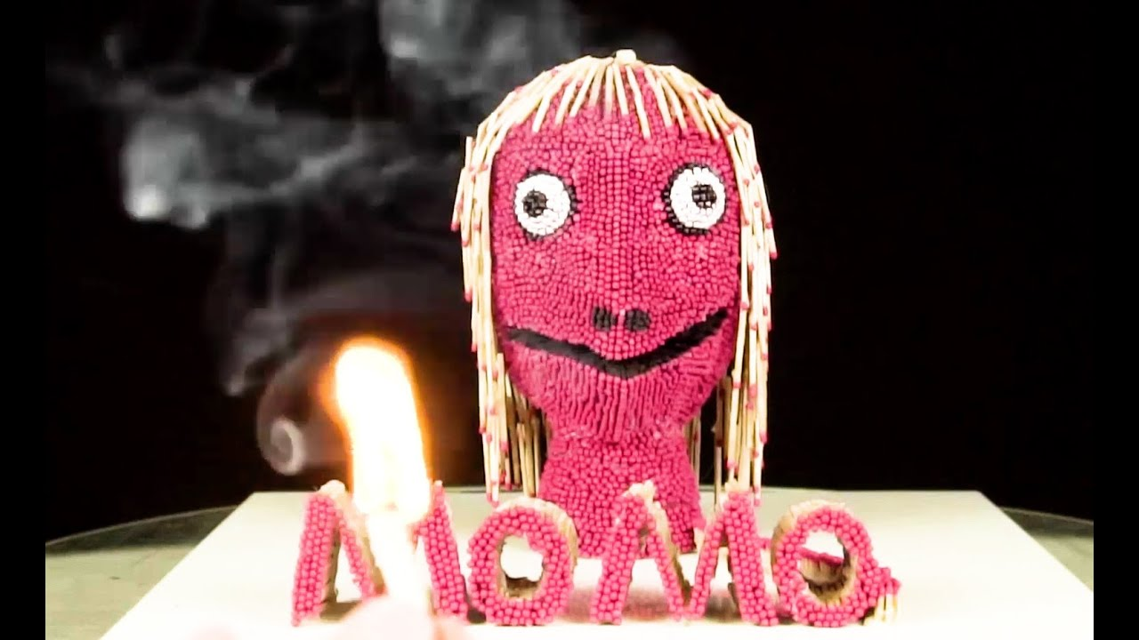 I Tried Turning 27,000 Matchsticks into Momo 🖤 Amazing fire domino