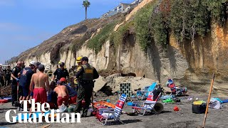 Cliff collapses into California beach