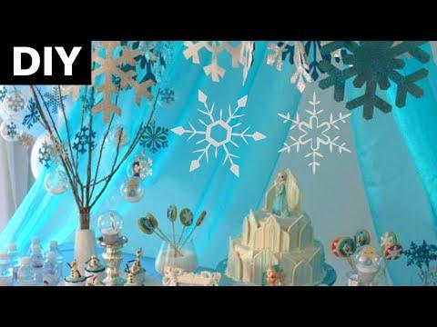 Festa Frozen Diy Decoração Com Flocos De Neve Youtube
