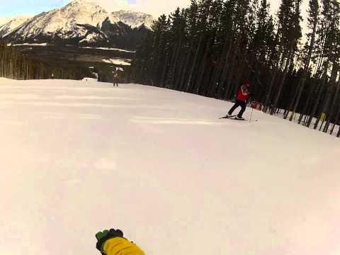 Family Ski Day in Nakiska Resort, Alberta, Canada