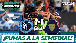 Resumen y goles | New York 1(2)-(3)1 Pumas | Leagues Cup 2021 Cuartos final