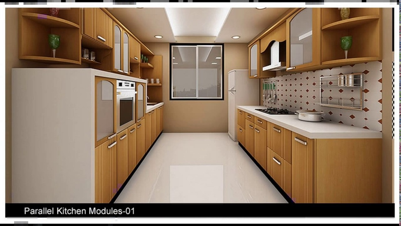 Indian modular parallel kitchen designs youtube for Interior decoration pictures kitchen indian