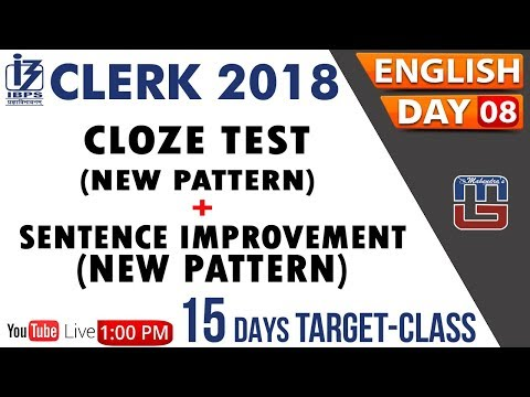 Cloze Test | Sentence Improvement | 15 Days Target Class | IBPS Clerk | English | Day 08