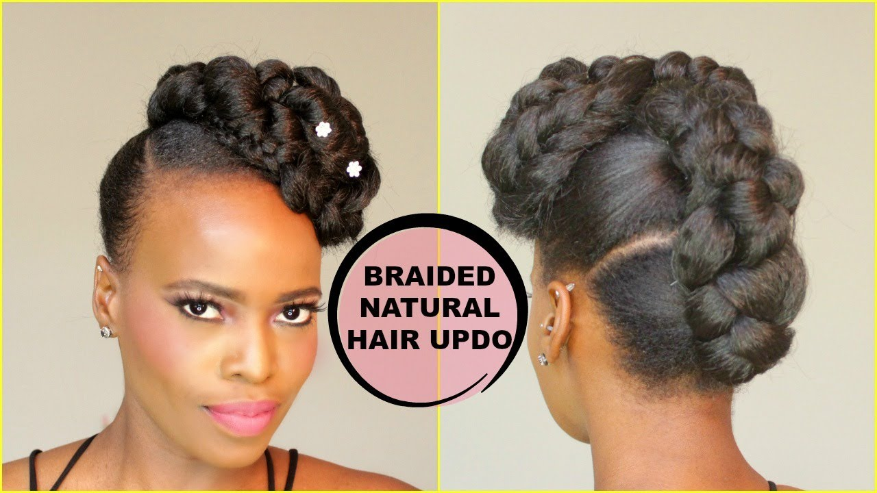 Faux French Braid Updo Natural Hair Tutorial Youtube