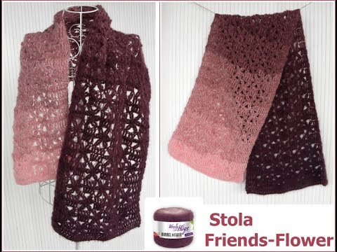 Stola Friends - Flower EINFACH Häkeln - mit 1 BOBBEL-Mohair von ...