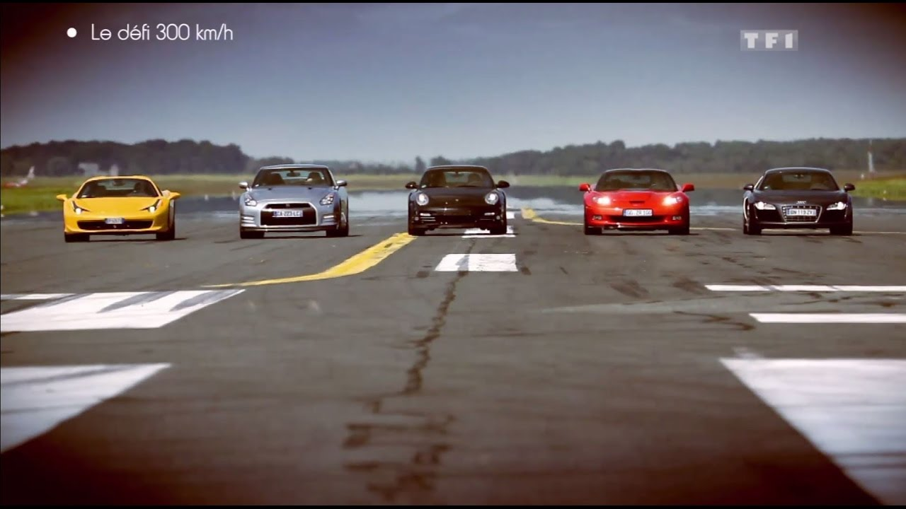Défi : Porsche 911 vs Ferrari 458 Spider vs Corvette ZR1 vs Audi R8 vs Nissan GT-R - YouTube