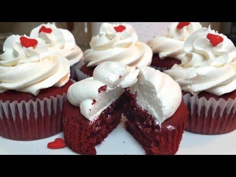 COMO HACER CUPCAKES DE RED VELVET (Terciopelo Rojo) Receta