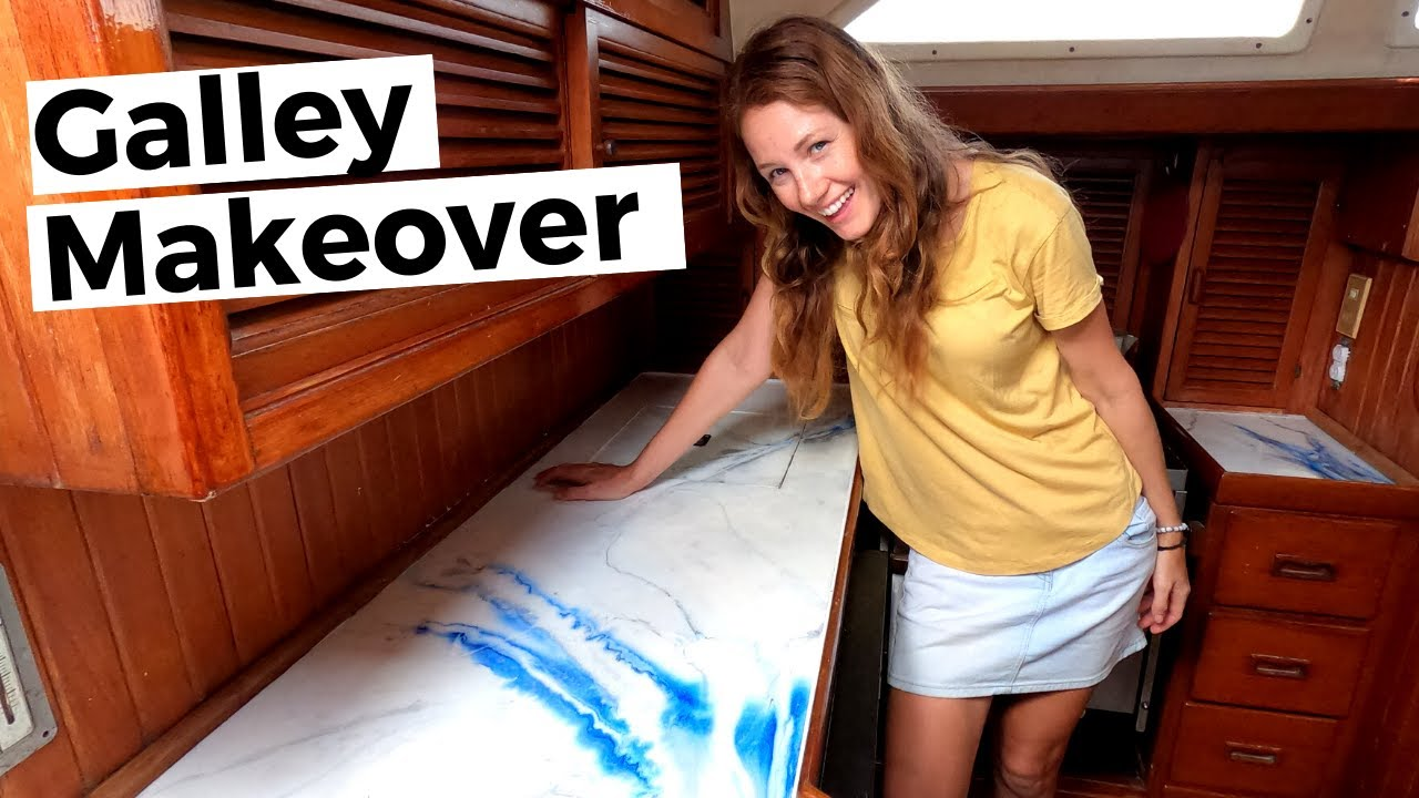Boat Galley MAKEOVER! How-to Resin Pour Epoxy Countertops