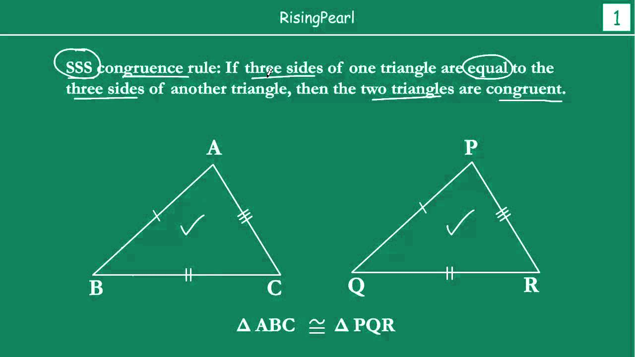 SSS (Side-Side-Side) Congruence rule - YouTube