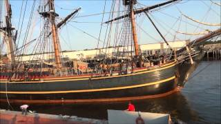 The 2012 HMS Bounty Docks in Gloucester, Massachusetts
