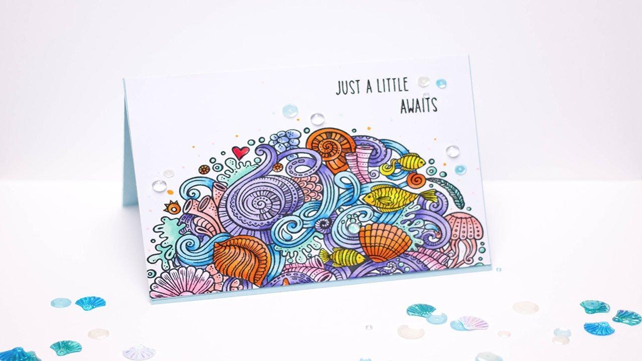 Zen ocean colouring book - Hbs Zen Ocean Stamp Set Coloring With Copic Markers