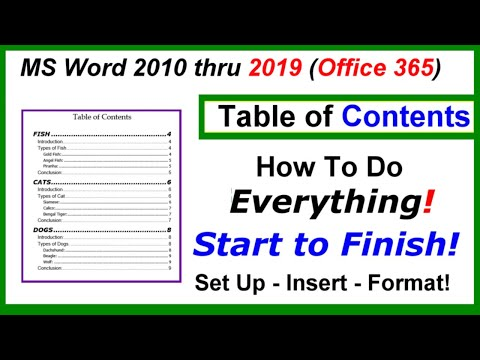 Table Of Contents - Setup, Inserting, Formatting : Word 2010 Thru 2019