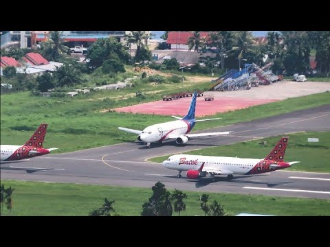 Batik Air dan Sriwijaya Air Take Off dan Landing di Bandara Rendani Kota Manokwari Papua Barat