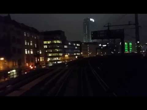 Führerstandsmitfahrt S-Bahn Berlin  bei Nacht von Bellevue nach Friedrichsfelde Ost