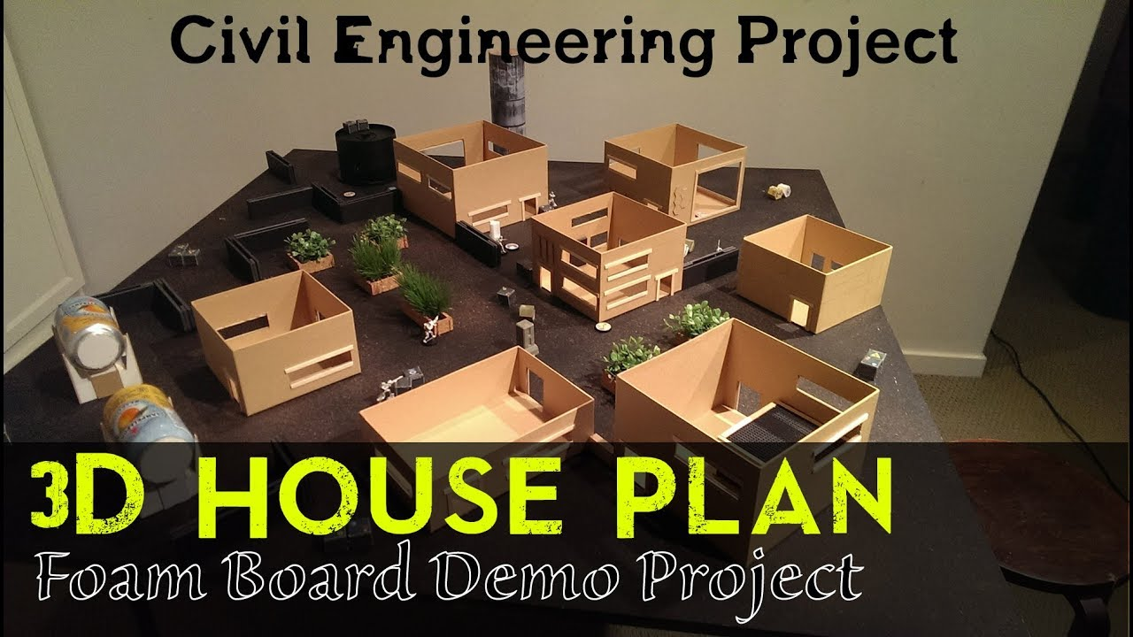 architectural engineering models. 3D House Plan | Building Foam Board Models Making Civil Engineering Project Architectural