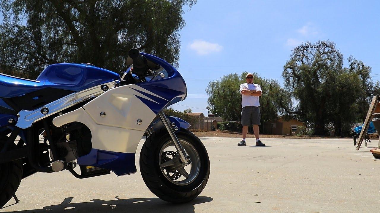 Fat guy on a Pocket Bike - YouTube