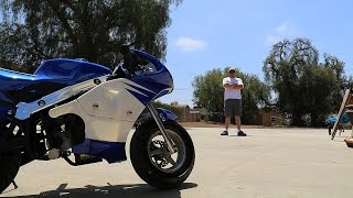 Fat guy on a Pocket Bike