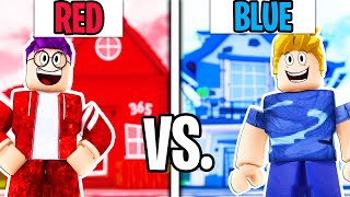 Using ONLY 1 COLOR In a BLOXBURG BUILD CHALLENGE! (JUSTIN vs ADAM!)