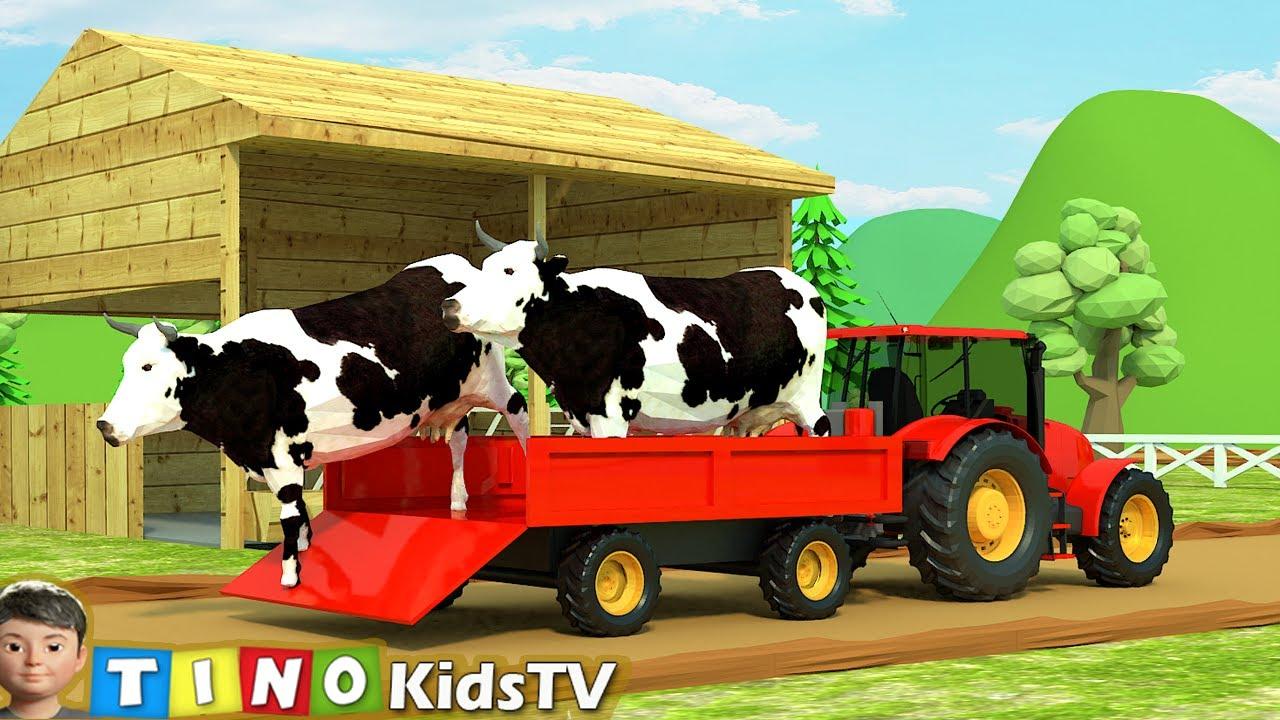 Farm Animal Houses Construction for Kids   Mini Excavator & Construction Trucks for Children