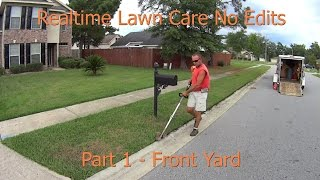 Part 1 Realtime Grass Cutting - Cut Edge Trim Blow Tall Thick Grass Front Yard