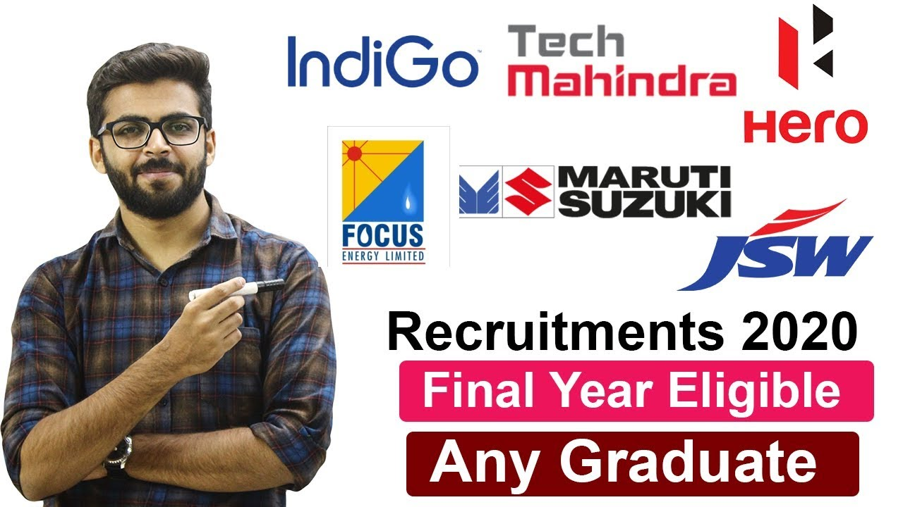 Recruitment 2020 | Final Year Eligible | Hero Motors | Indigo | Tech Mahindra | Latest Job 2020