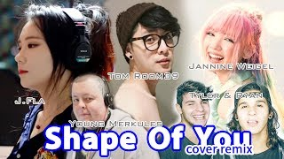 Shape of You [ cover mashup] by Tom Room39 l J.Fla l  Jannine Weigel l Tyler & Ryan l Young Merkules Mp3