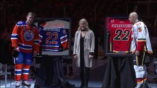 Flames and Oilers honour Wickenheiser before puck drop