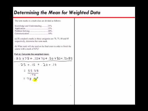 Determining the Mean for Weighted Data