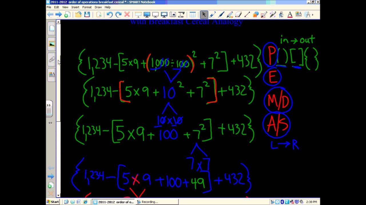 Order Of Operations With Parentheses Brackets And Braces