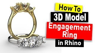 3D Model 3-Stone Engagement Ring in Rhino 6: Jewelry CAD Design Tutorial #69