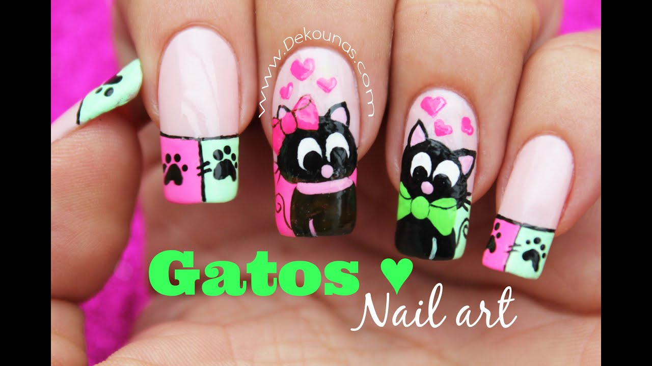 Decoración De Uñas Gatos Enamorados Cats Inlove Nail Art Youtube