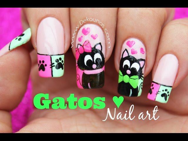 Decoración de uñas gatos enamorados - Cats inlove nail art