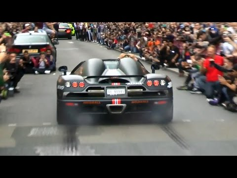 Rare Koenigsegg CCXR – revs and burnout in London!
