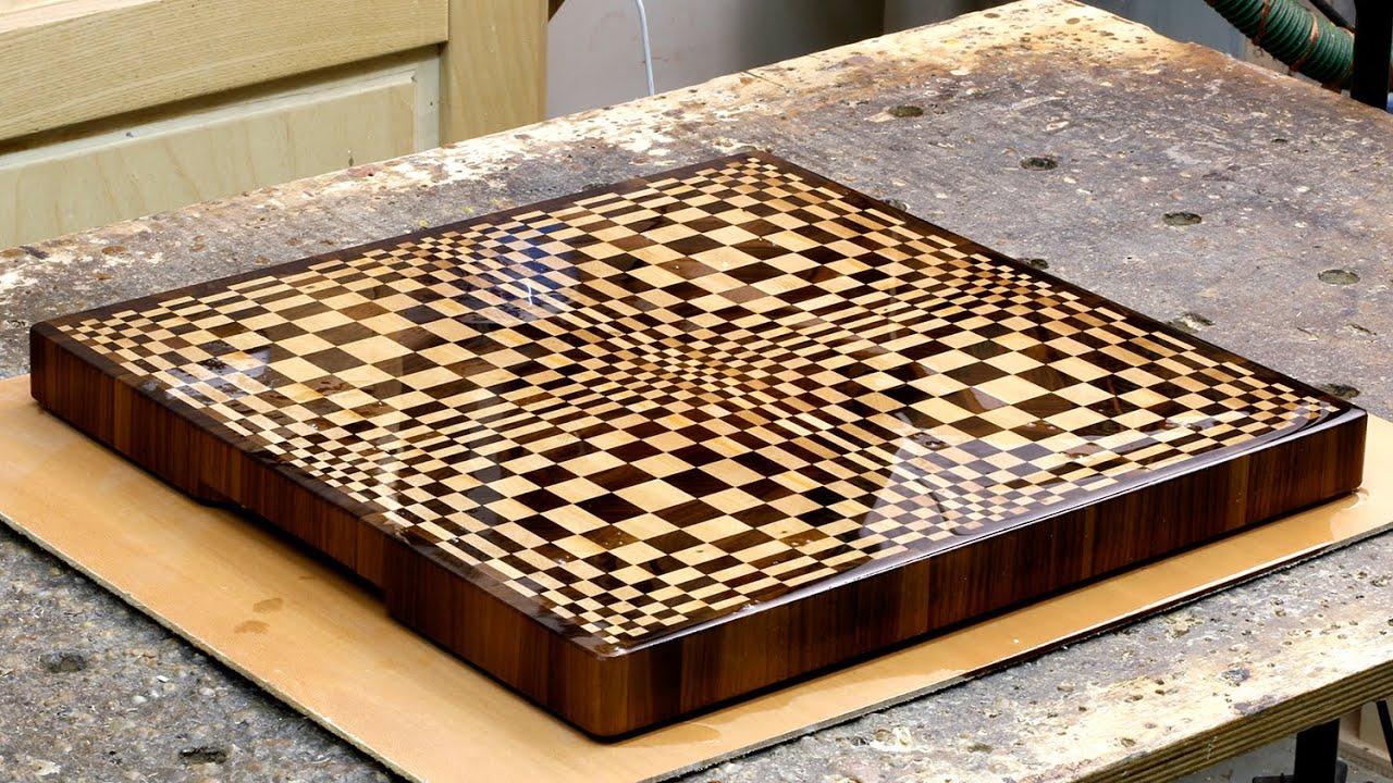 End grain cutting board absorbs oil - YouTube