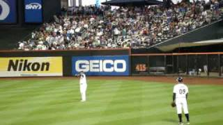 Chad the Mets Ball boy playing catch with Gary Sheffield