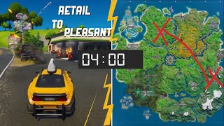 Drive a car from Retail Row to Pleasant park in less than 4 minutes | Fortnite Week 8 Challenges