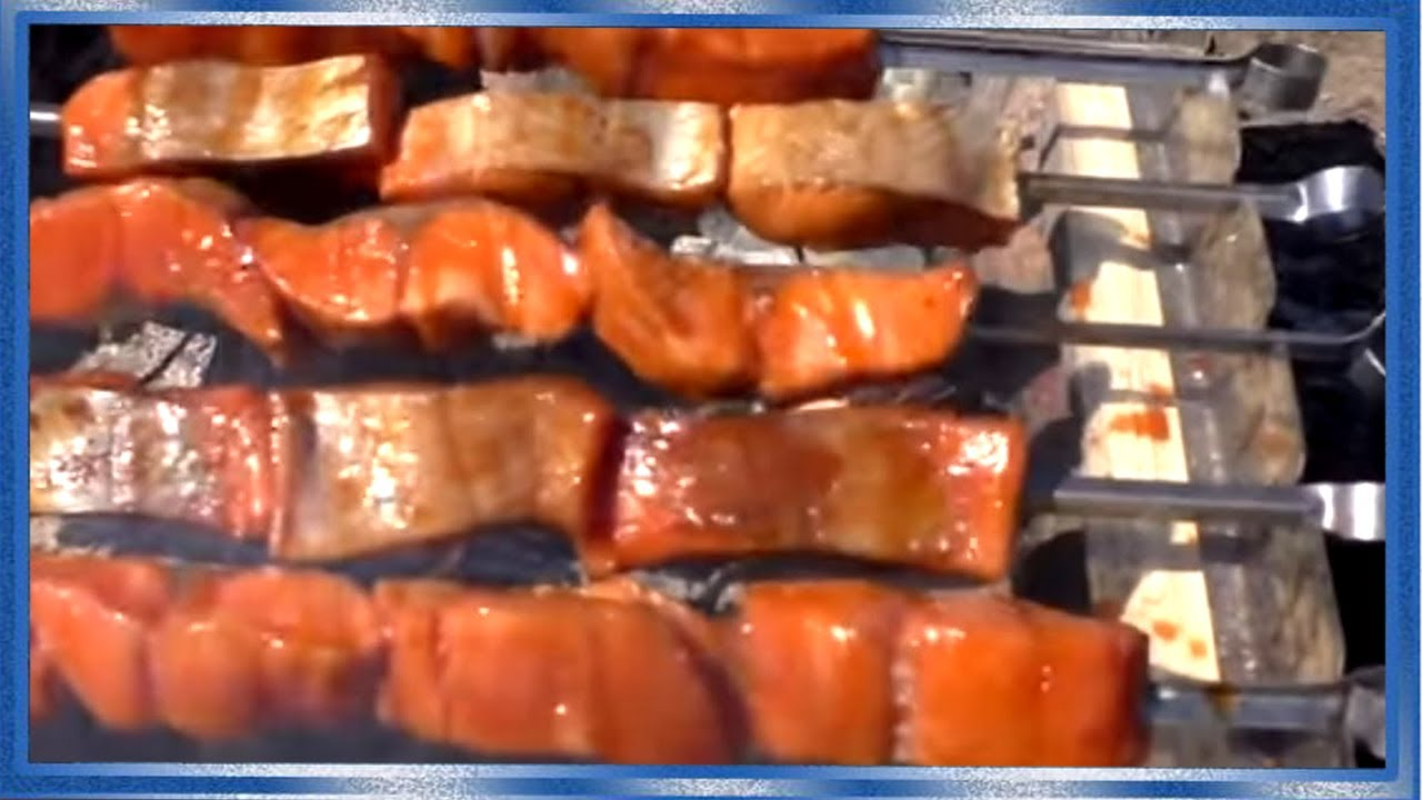 ВКУСНЕЙШИЙ  ШАШЛЫК ИЗ РЫБЫ, шашлык из лосося, Рецепт соус барбекю от fisherman dv. 27 rus,