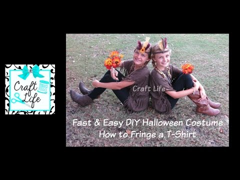 Fast & Easy DIY Halloween Costume ~ How To Fringe A T-Shirt