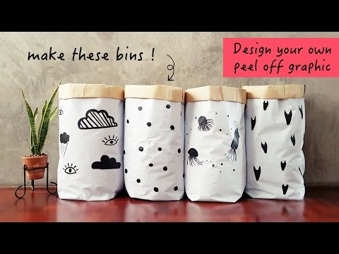 DIY Vinyl Storage Bins and Masking Tape Stickers, Paper Bag Style
