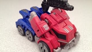 TRANSFORMERS FALL OF CYBERTRON GAME OPTIMUS PRIME VIDEO TOY REVIEW