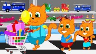 Familia de gatos - Dia de compras Dibujos animados para niños