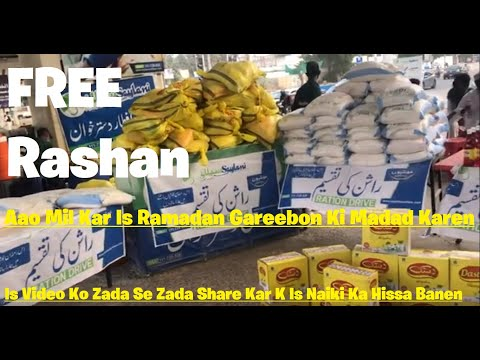 Free Rashan Distribution   Saylani Welfare Trust   Tariq Road Karachi   Free Ramadan Rashan Package
